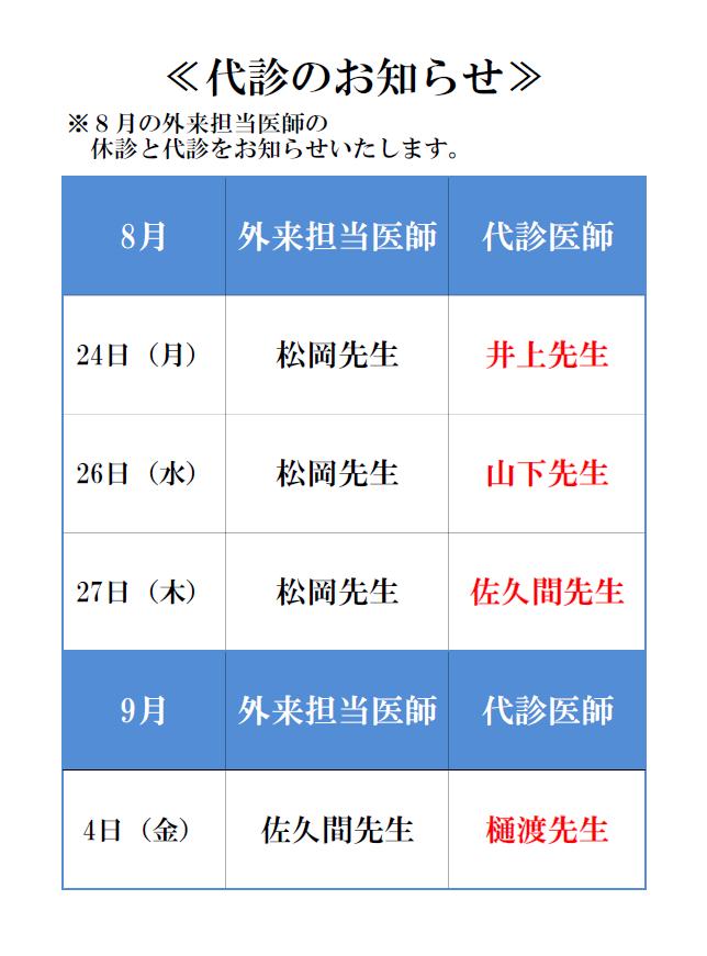 9月休診(代診)のお知らせ
