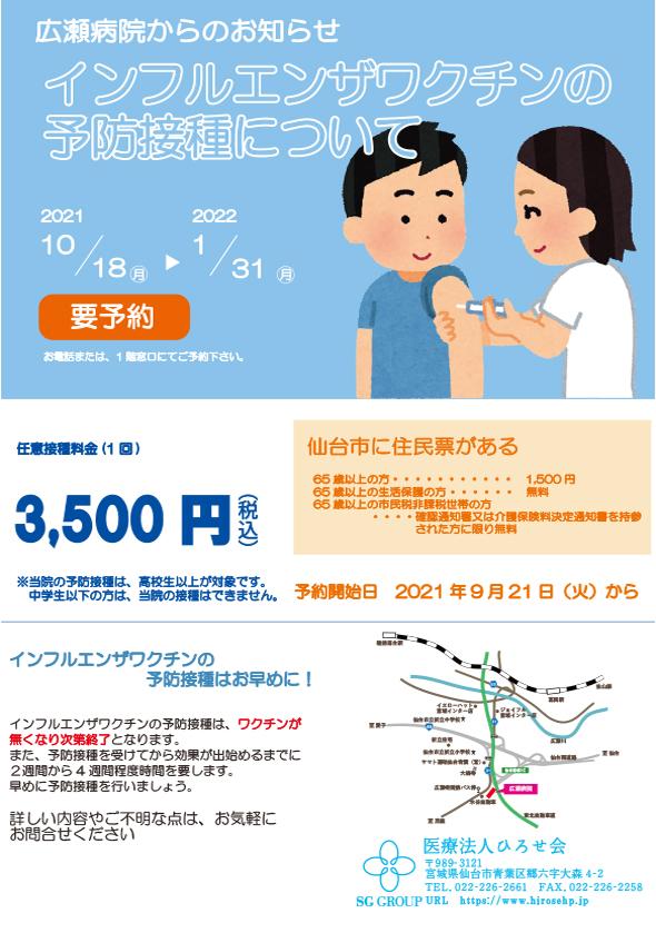 インフルエンザワクチンの予防接種について
